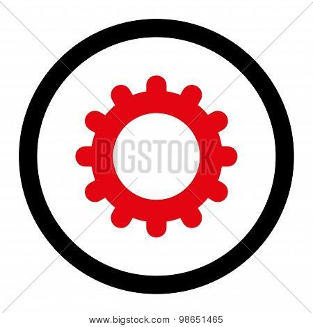 Gear flat intensive red and black colors rounded raster icon