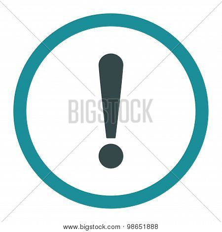 Exclamation Sign flat soft blue colors rounded raster icon