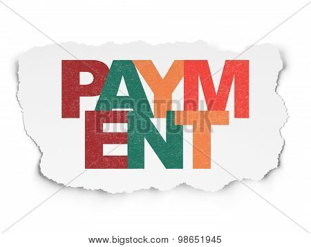 Currency concept: Payment on Torn Paper background