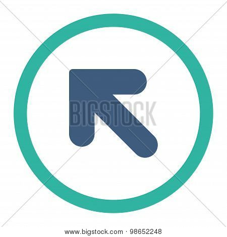 Arrow Up Left flat cobalt and cyan colors rounded raster icon