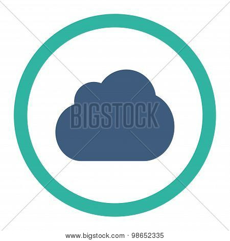 Cloud flat cobalt and cyan colors rounded raster icon