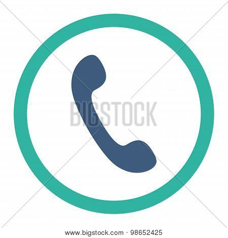 Phone flat cobalt and cyan colors rounded raster icon