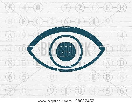 Security concept: Eye on wall background
