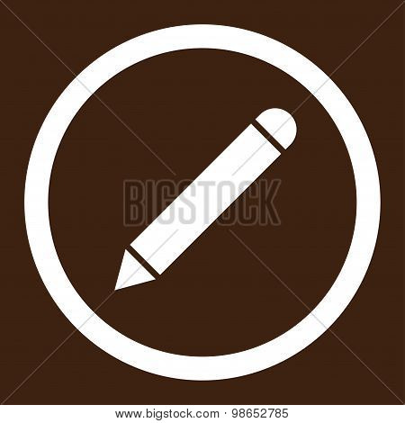 Pencil flat white color rounded raster icon
