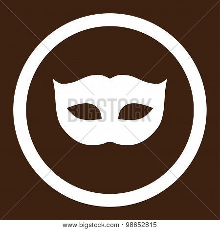 Privacy Mask flat white color rounded raster icon