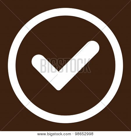 Yes flat white color rounded raster icon
