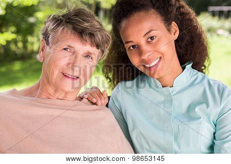 Friendship Between Retiree And Nurse