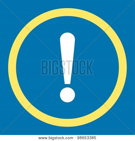 Exclamation Sign flat yellow and white colors rounded raster icon