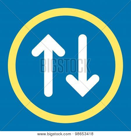 Flip flat yellow and white colors rounded raster icon