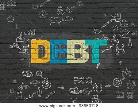Business concept: Debt on wall background