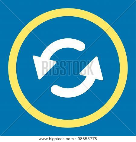 Refresh Ccw flat yellow and white colors rounded raster icon