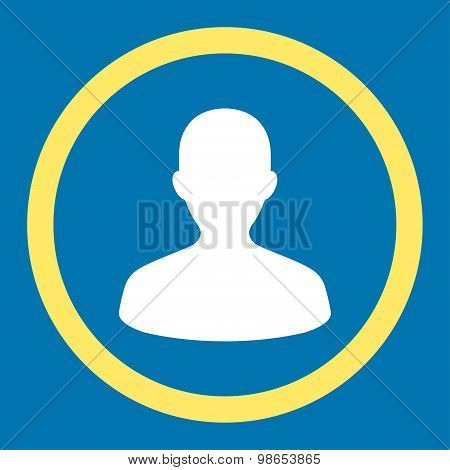 User flat yellow and white colors rounded raster icon