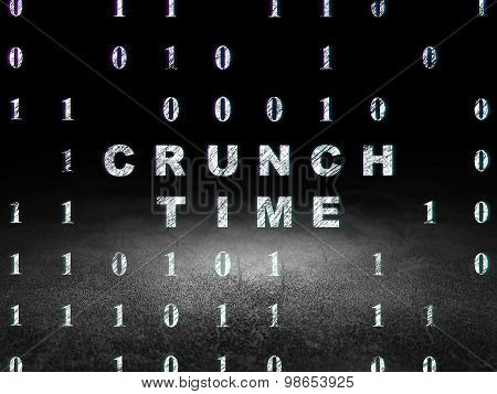 Business concept: Crunch Time in grunge dark room
