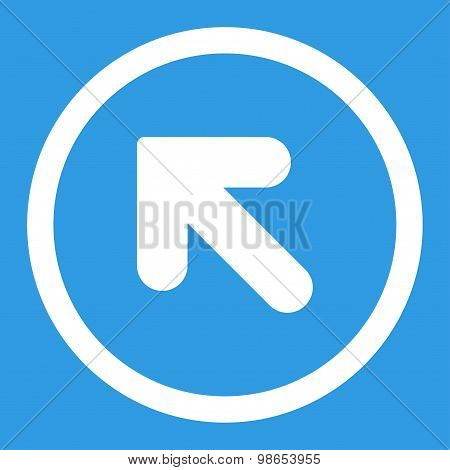 Arrow Up Left flat white color rounded raster icon