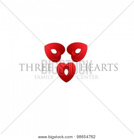 Three hearts logo. Modern logotype for wedding agency, family center, valentines day, heart clinic, donation center