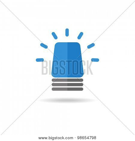 Sirene blue flasher on a white background. Alarm, police, ambulance and sequrity logo sign. Vector logotype.