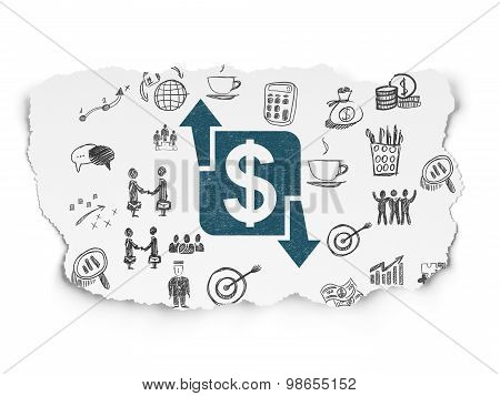Finance concept: Finance on Torn Paper background