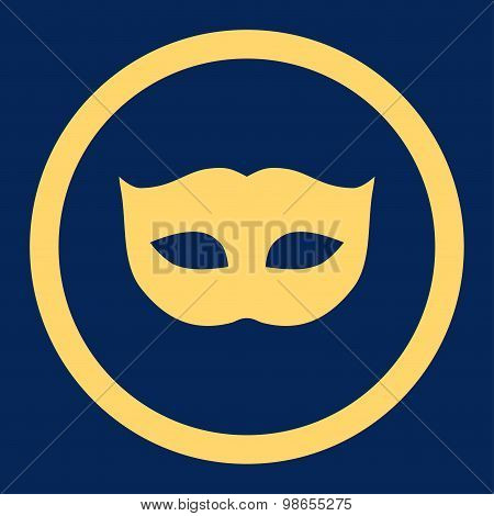 Privacy Mask flat yellow color rounded raster icon