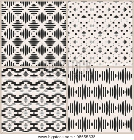 Set of four geometric vector seamless patterns