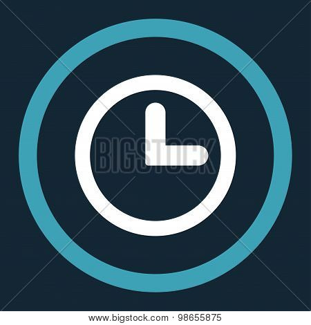 Clock flat blue and white colors rounded raster icon