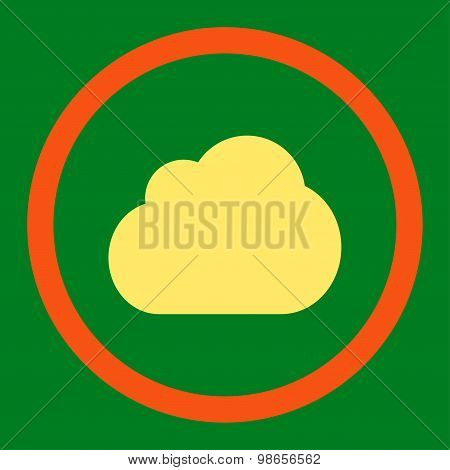 Cloud flat orange and yellow colors rounded raster icon
