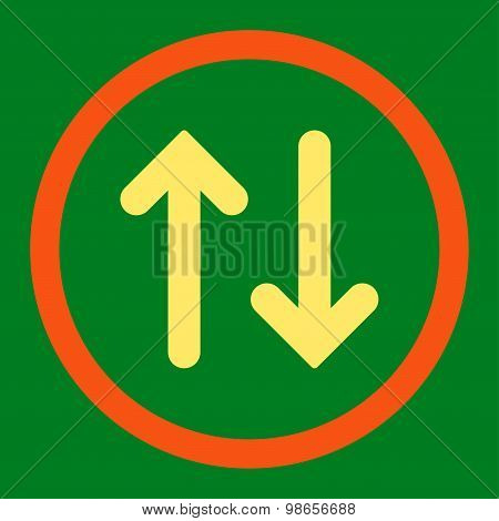 Flip flat orange and yellow colors rounded raster icon