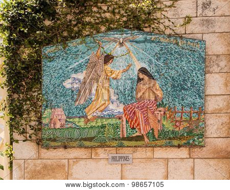 Nazareth, Israel July 8, 2015; A Mosaic Donated By The People Of The Philippines, Part Of A Display
