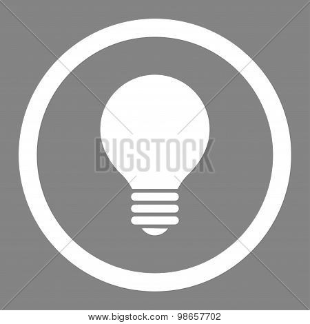 Electric Bulb flat white color rounded raster icon