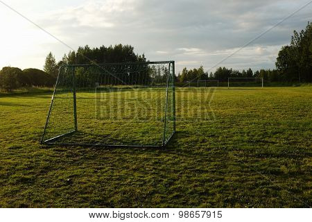 Soccer Goal On The Rural Sports Field