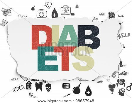 Medicine concept: Diabets on Torn Paper background