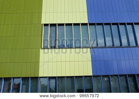 Wall Of Modern Building Blue And Green Color, Horizontal Photo