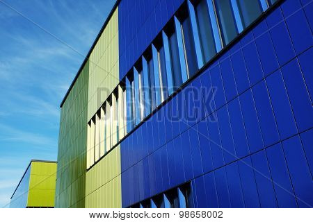 Wall Of Modern Building Blue And Green Color