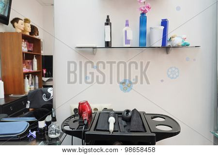 Hairdresser tools in hair salon
