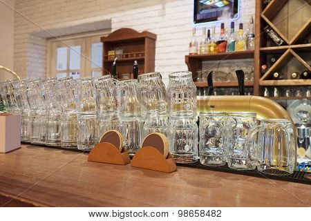 Glasses on a bar counter