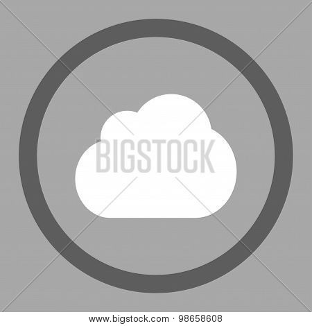 Cloud flat dark gray and white colors rounded raster icon