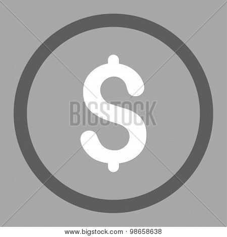 Dollar flat dark gray and white colors rounded raster icon