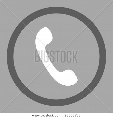 Phone flat dark gray and white colors rounded raster icon