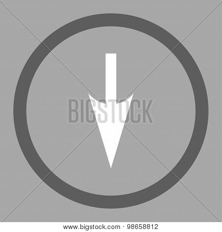 Sharp Down Arrow flat dark gray and white colors rounded raster icon