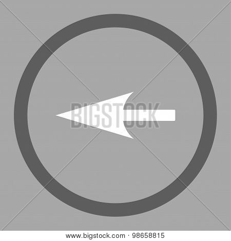 Sharp Left Arrow flat dark gray and white colors rounded raster icon