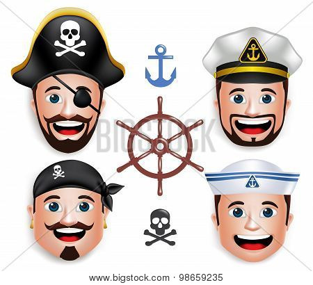 Set of 3D Realistic Face Head of Man Sailors like Pirates and Ship Crew