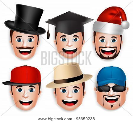 Set of 3D Realistic Face Head of Man Collections of Hats