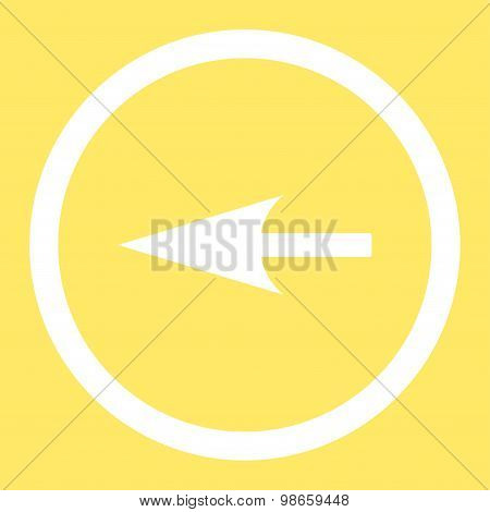 Sharp Left Arrow flat white color rounded raster icon