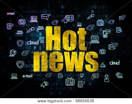 News concept: Hot News on Digital background