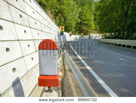 Kilometer Stone Post On The Roadside In Romania