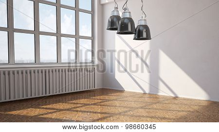 Empty room in a loft with parquet floor and lamps (3D Rendering)