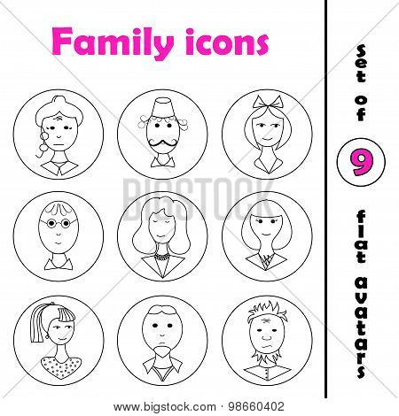 Set Of Line Family Icons In Round Frame