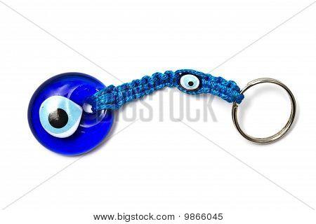 """Blue """" Cat Eye"""" Keychain Isolated On White"""