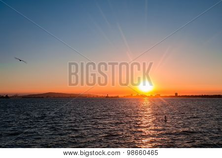 Beach Sunset At Long Beach California