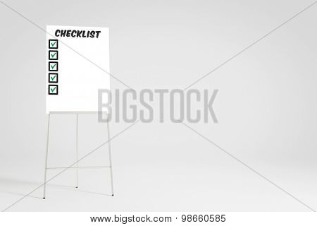 Checklist with checkmarks on a flipchart with copy space (3D Rendering)