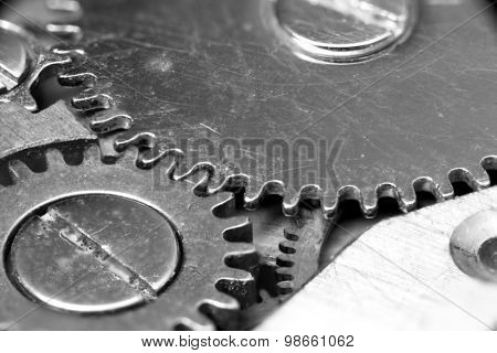 Extreme close up shot of tiny watch gears created with focus stacking
